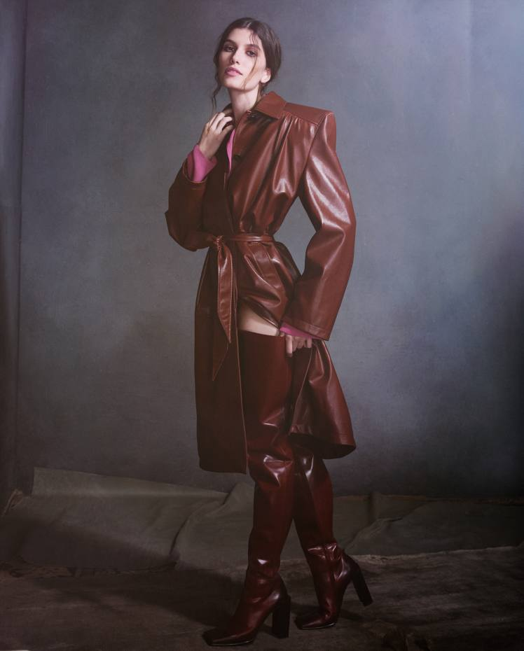 Balenciaga leather trench, £4,350, silk georgette top, £595, and leather boots, £1,195