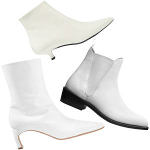 From left: The Row Coco leather ankle boots, £1,025. Rosetta Getty patent leather ankle boots, £700