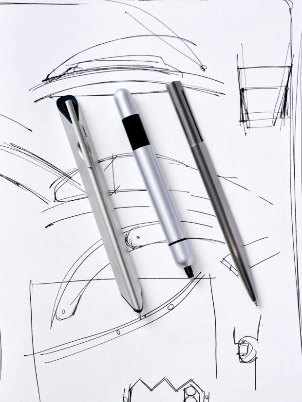 Fabrizio Buonamassa Stigliani's Lamy Dialog 1, €150, Lamy Pico pocket pen, from €34, and Bulgari Eccentrica, discontinued