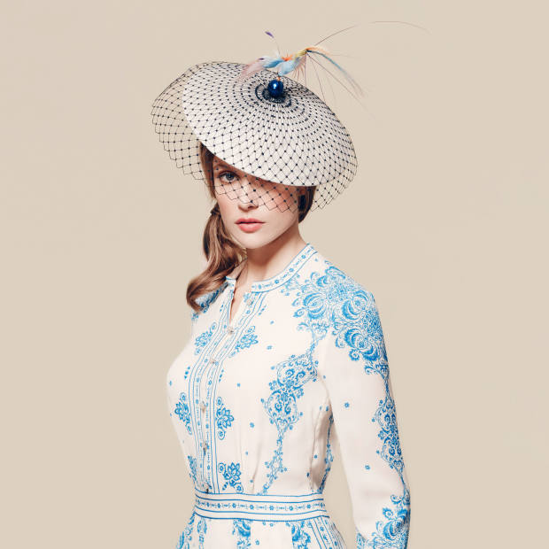 Hat - Harvy Santos for the Royal Ascot Millinery Collective, £620, avaliable at Fenwick Dress - Vilshenko, £1,395