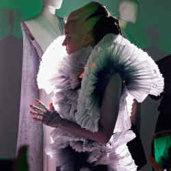 Daphne Guinness in the couture silk organza Lunar Dress by Deborah Milner, price on request