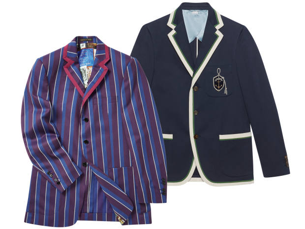 From left: Gucci wool/cotton and grosgrain jacket, £1,770. New & Lingwood merino wool Newton jacket, £695