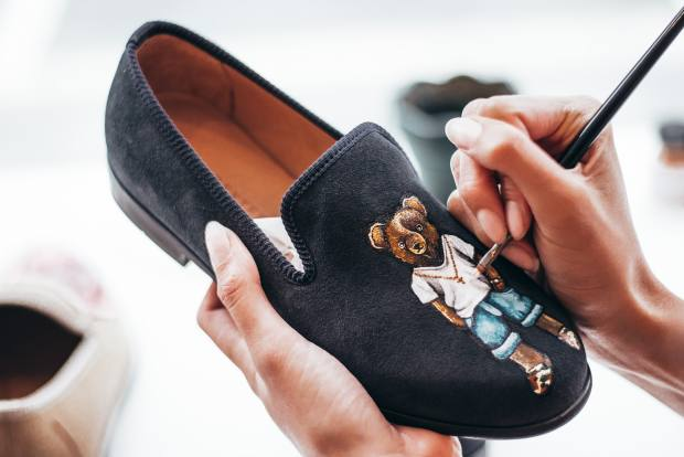 Handpainted nubuck loafer with a playful anthropomorphic bear