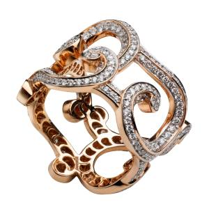 Fabergé Rococo Lace ring in 18ct rose gold with diamonds, £7,405. Also with multicoloured gemstones, £6,790