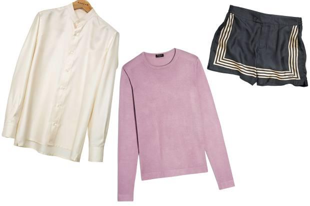 Caruso silk shirt, £420. Berluti knitted silk jumper, £680. Massimo Alba silkswim shorts, £452
