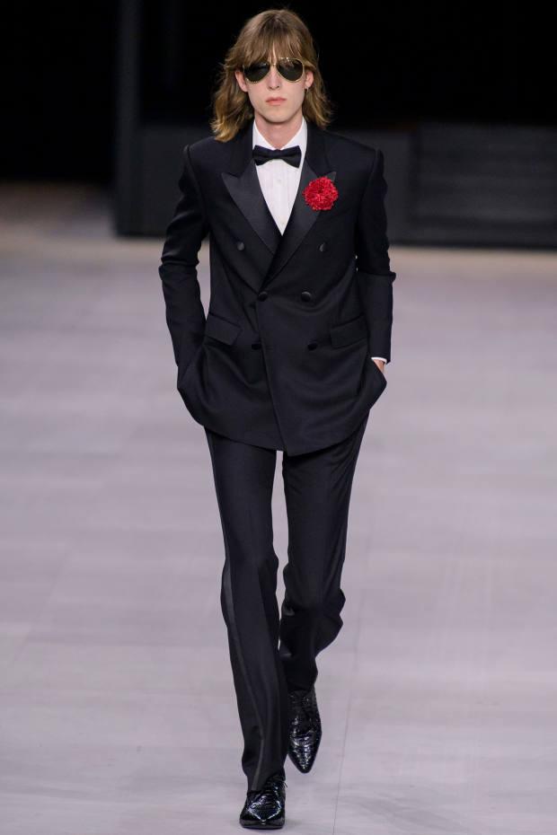 Black tie on the runway at Celine's spring/summer 2020 men's show