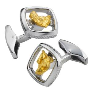 Tateossian Silver Square Gold Nugget limited-edition cuff links in rhodium-plated silver with 22ct yellow gold nuggets, from £450