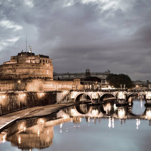 The Castel and Ponte Sant'Angelo, which stand on the Tiber