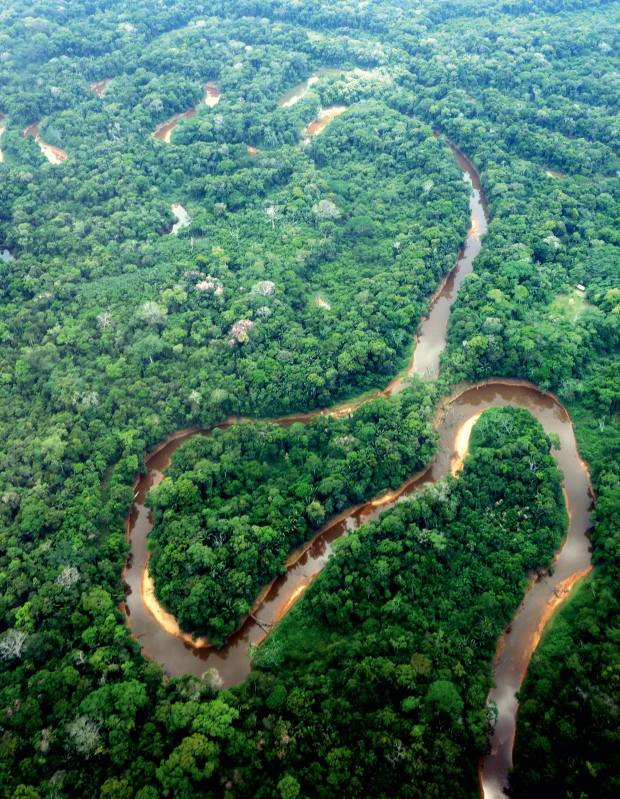 Aerial view of a river en route to Asunta village