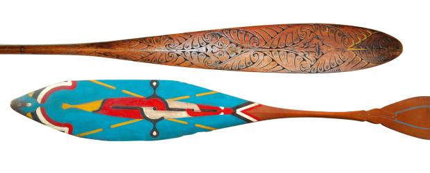 From top: 19th-century Passamaquoddy paddle, £4,700 at Adam Prout. c1950 Nduyka paddle, £1,300 at Bradbury Art & Antiques