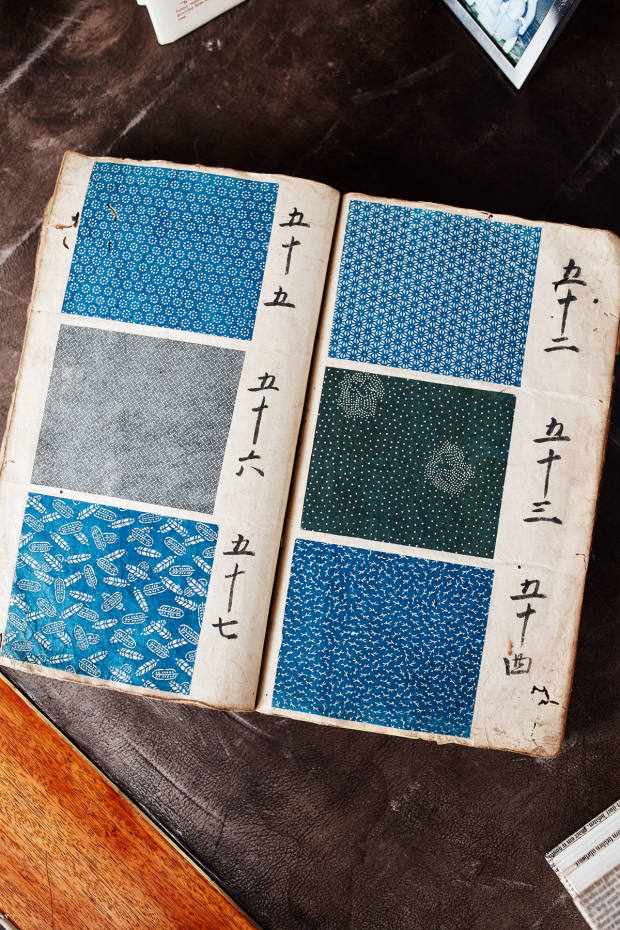 Burch's book of 17th-century fabric swatches from an antique shop in Nara in Japan