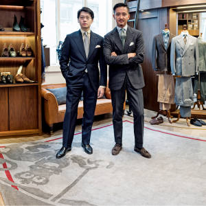 The Armoury co-founders Mark Cho (far left) and Alan See at their original Pedder store in Hong Kong