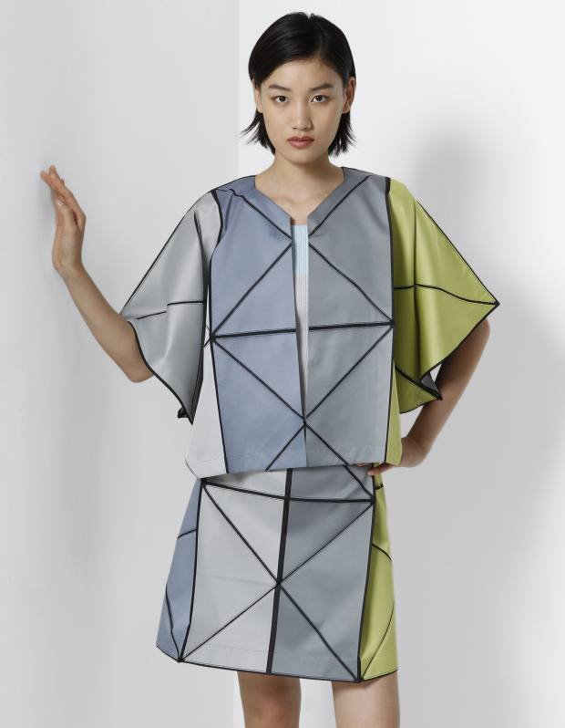 132 5. Issey Miyake Grid cardigan, £645, Grid skirt, £425, and knit top, £190