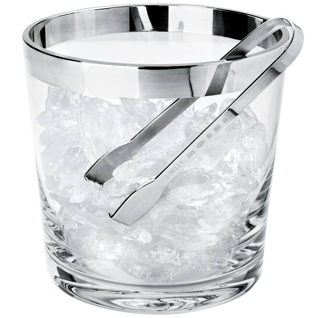 Linley Silver Ice Bucket & Tongs, £695
