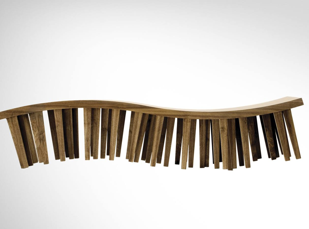 Pirwi birch Centipede bench, $1,856, by Héctor Esrawe