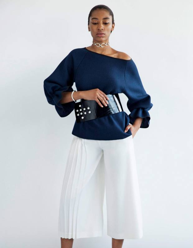 Osman Yousefzada cotton Karla sweatshirt, £345, wool Madison culottes, £395, and leather and pearl belt, £295