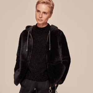 Merino shearling jacket with hood, £799, by Me+Em