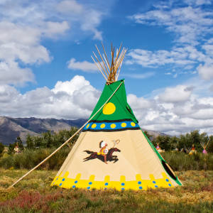 A handpainted luxury teepee at Mustang Monument, Nevada