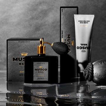 Claus Porto Musgo Real Black edition: €95 for 100ml EDT. Shaving cream, €24. Soap on a rope, €28