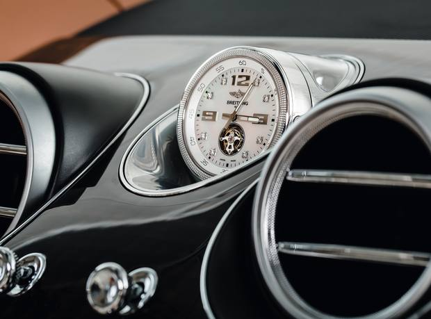 Breitling white-gold and mother-of-pearl Mulliner Tourbillon clock, from £150,000, for the Bentayga
