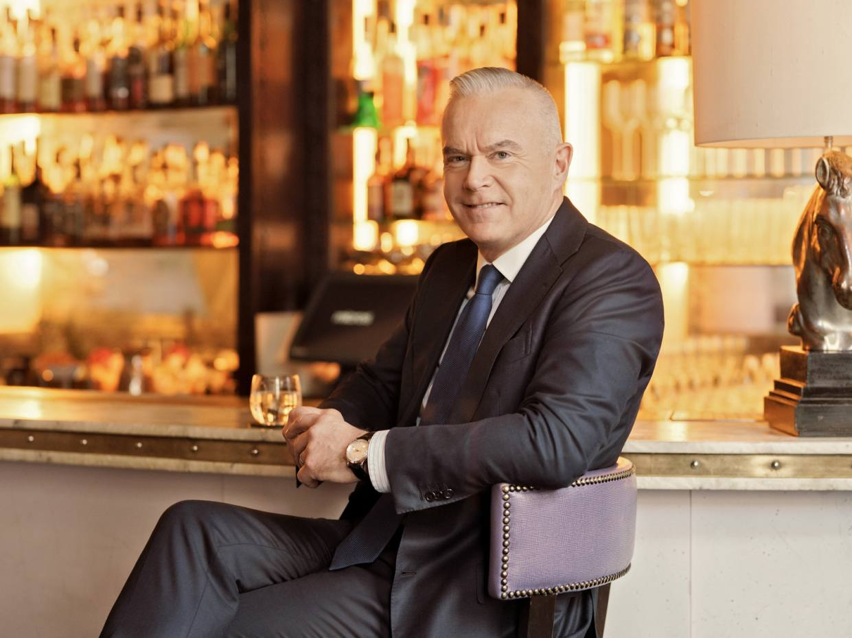 Huw Edwards wearing his vintage Jaeger-LeCoultre Memovox in the Artesian bar at The Langham hotel, London