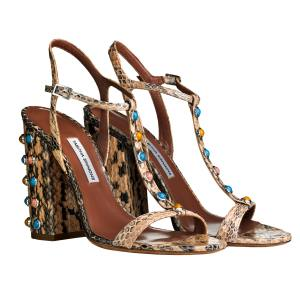 Tabitha Simmons Elvy Stone sandals in elaphe, £685. Also in other colours/materials