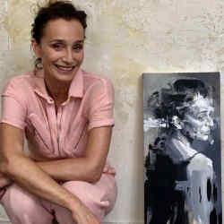 Kristin Scott Thomas beside her portrait by Christian Hook