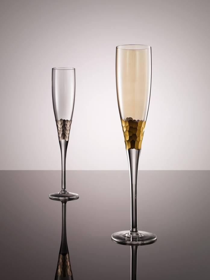 Paillette champagne flutes, $96 each, by Kim Seybert