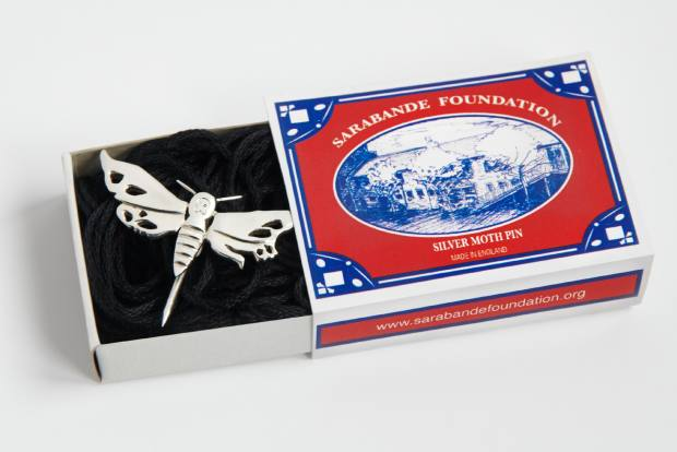 Benjamin Hawkins has designed a silver moth pin, which is available to buy online or at the Fair for £149, with all proceeds going to Sarabande