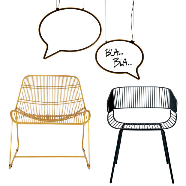 Clockwise from top: Mogg LED Bla Bla lightsby Emanuele Magini,from £540. AC/AL Studio for Petite Friture steel Trame chair, €394. Habitat metal Tabitha lounge chair, £275