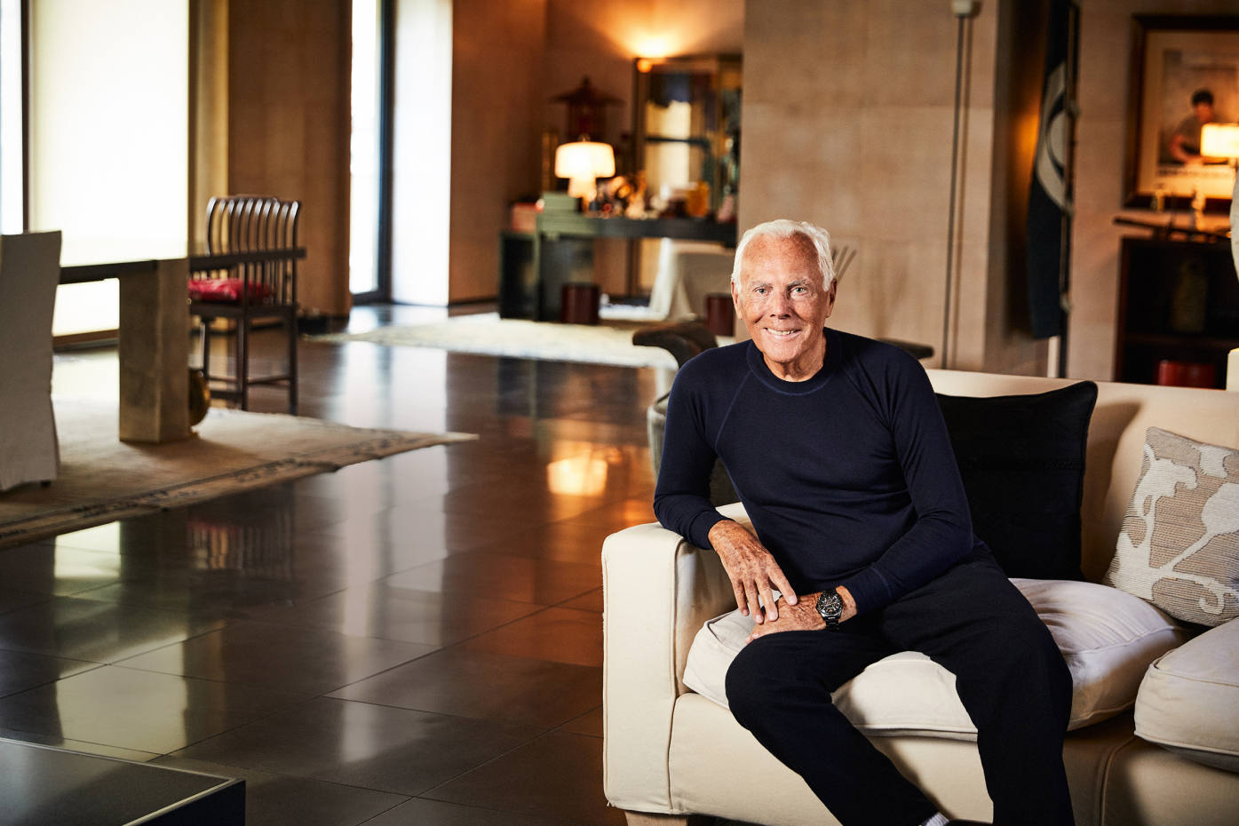 Giorgio Armani at home in Milan