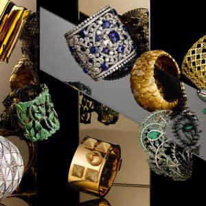 Clockwise from top left: Van Cleef & Arpels gold Jackie O cuff, £24,500. Graff sapphire and diamond cuff bracelet, from £100,000. Pomellato rose gold and diamond Sirene cuff, £26,980. Dior gold My Dior cuff, £18,000. Damiani gold, sapphire, emerald and diamond Peacock bracelet, £161,167. Belmacz gold Tevas bangle, £24,800. Asprey platinum and rhodium Fern cuff set with emeralds and diamonds, £150,000. Hermès rose gold and brown diamond Collier de Chien cuff bracelet, £99,320. Boucheron white gold Perle au Trésor bracelet set with diamonds, opals and mother-of-pearl, price on request. Chopard titanium and tsavorite Red Carpet cuff bracelet, £64,780