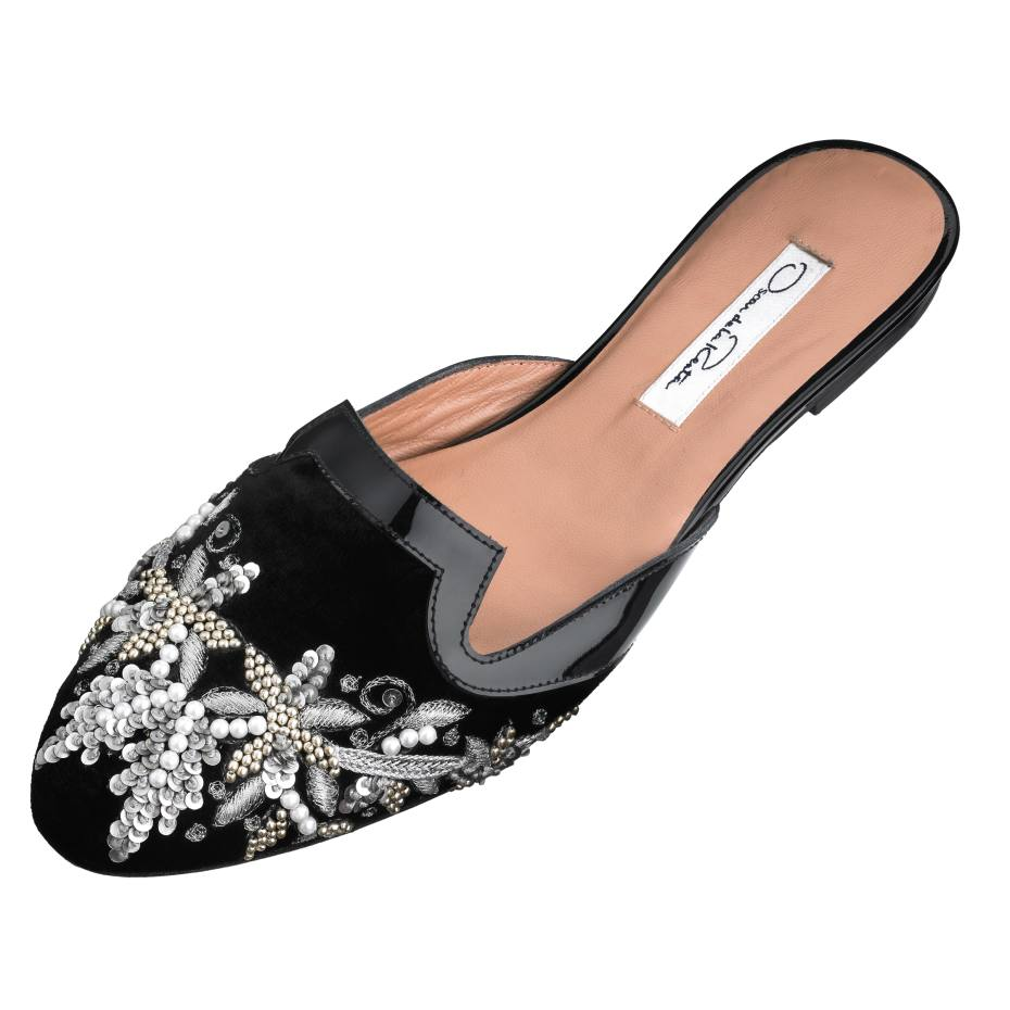 Oscar de la Renta Spanish Mule slippers in suede and leather with sequin and bead detail, £432. Also in white with gunmetal detail
