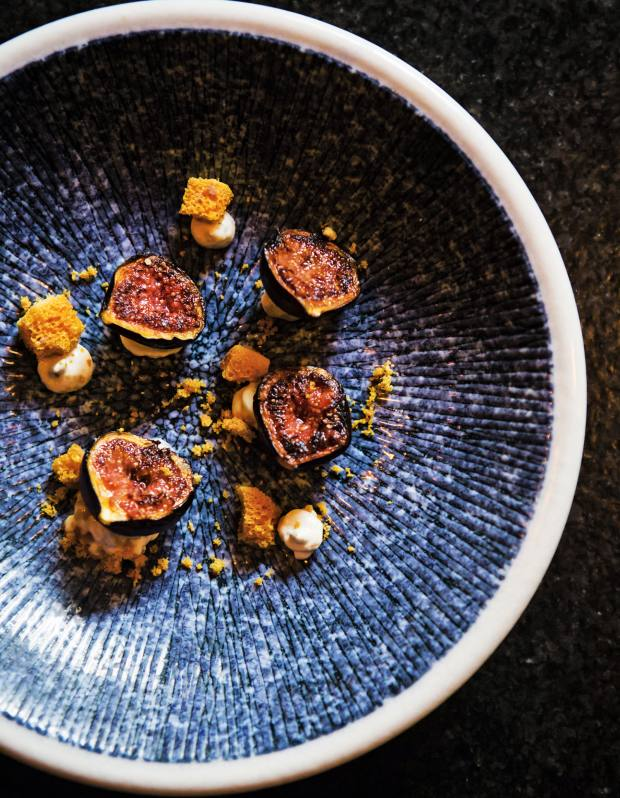 A snack of figs, honey and blue cheese at Outrage of Modesty