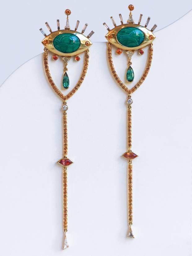Mociun gold earrings with malachite-chrysocolla cabochons, diamonds, sapphires and tourmalines