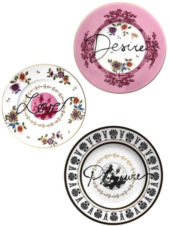 The Road to Heaven is Paved with Excess includes chargers, dinner, soup and dessert plates (priced £230 per setting) with a modern design focused around the use of words