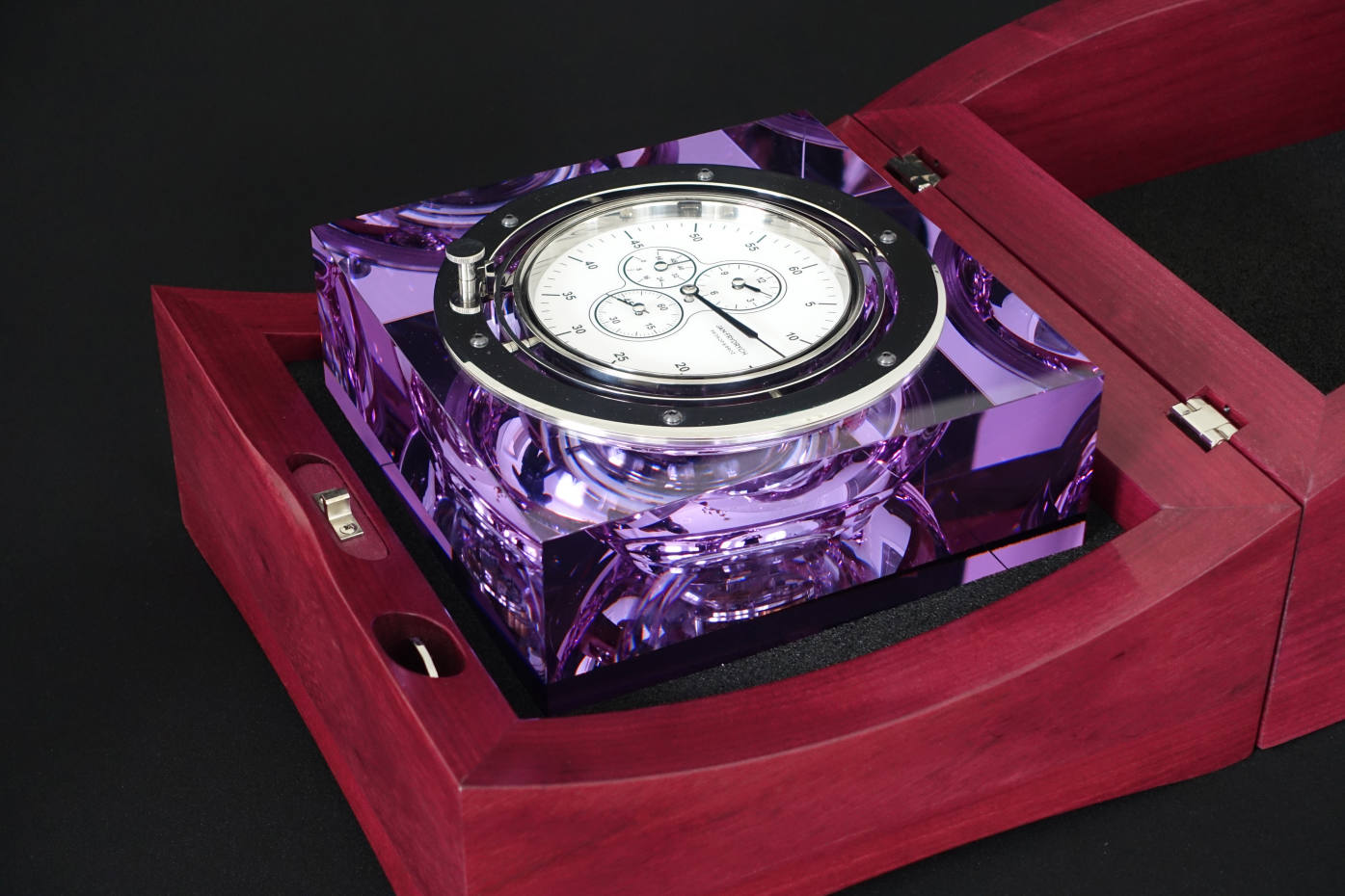 Jan Frydrych glass and heartwood marine chronometer