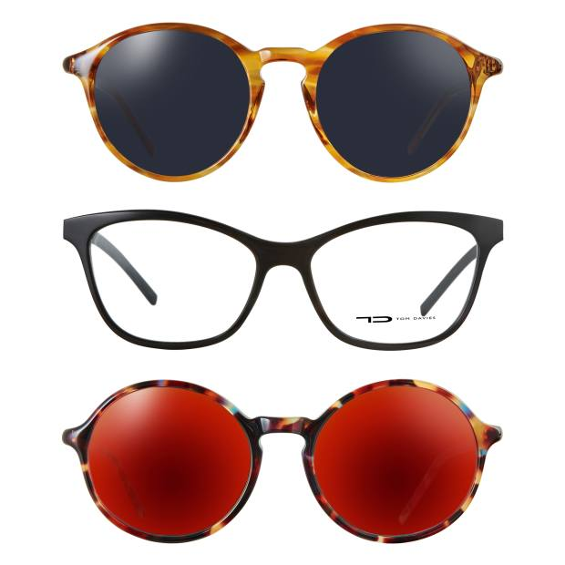 Tom Davies sunglasses from the Notting Hill range and glasses (middle) from the Natural Horn range