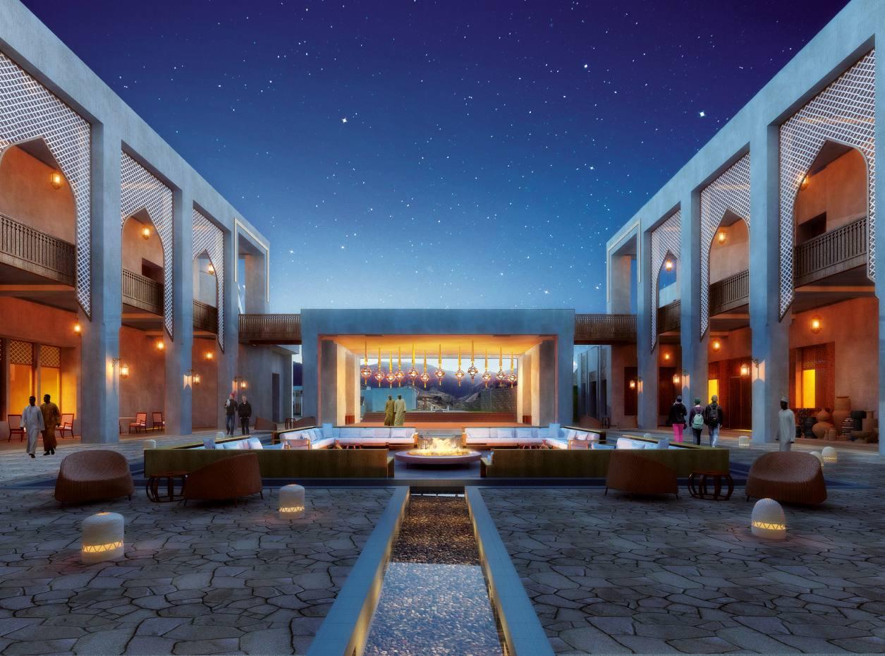 The central courtyard of Anantara Al Jabal Al Akhdar, Oman.