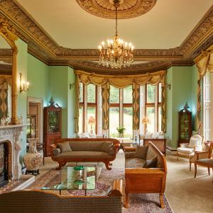 The drawing room at Palé Hall hotel, just outside Snowdonia National Park in Wales
