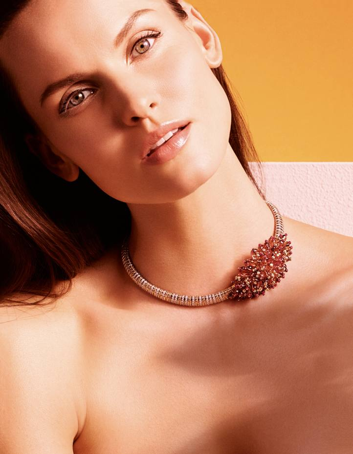 Cartier white and rose gold, ruby, diamond and garnet Arabica necklace, price on request