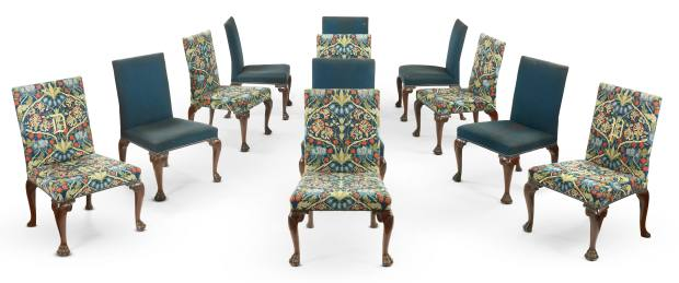 A set of seven George III giltwood-framed armchairs, £50,000-£80,000