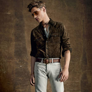 Tom Ford suede Western shirt, £3,680, and cord jeans, £380