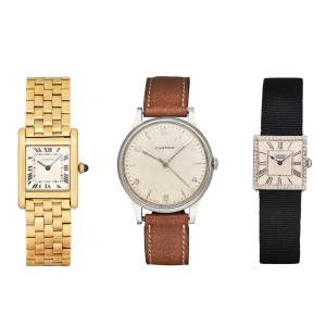 From left: Cartier gold and sapphire Tank, estimate SFr8,000-SFr12,000 (about £6,250-£9,375). Cartier steel watch on leather strap, about £3,900-£5,470. Cartier gold, platinum, steel and diamond watch on fabric strap, about £6,250-£9,375