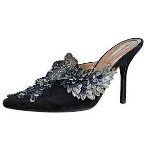 Alberta Ferretti bird mules in velvet with raffia and glass stone embroidery, £810