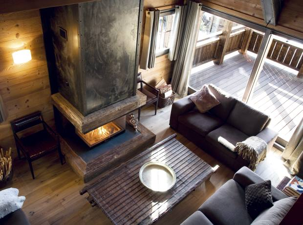 The club-style ski room of Asian-inspired chalet Hidden Dragon.