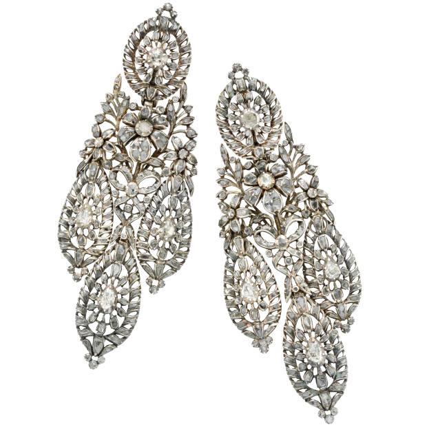 c1790 gold, silver and diamond Iberian earrings, $22,000