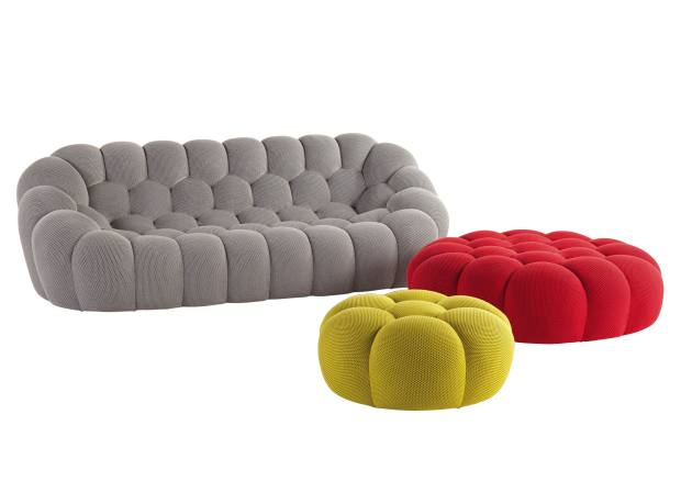 Sacha Laki for Roche Bobois wool, jersey and wood Bubble sofa, from £3,960, and matching ottomans, from £885