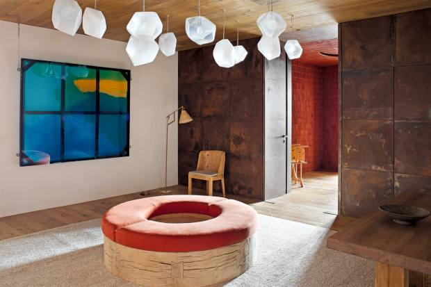 Pierre Yovanovitch's design for a chalet in Andermatt, Switzerland, features his Donut bench, $45,000