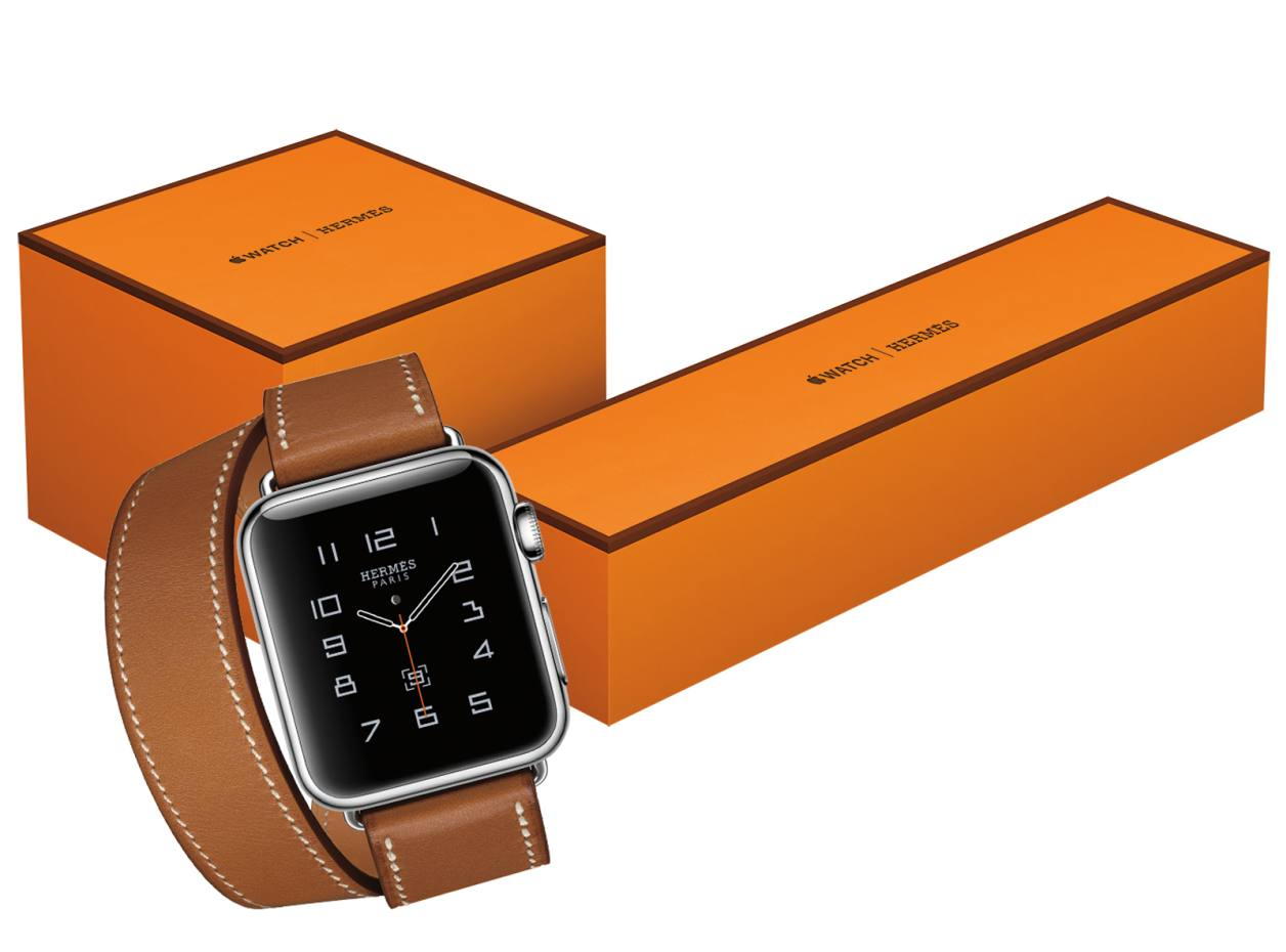 The Hermès edition of the Apple Watch, from $1,100, on a Barenia leather double tour strap. The single and double tour box. The cuff box